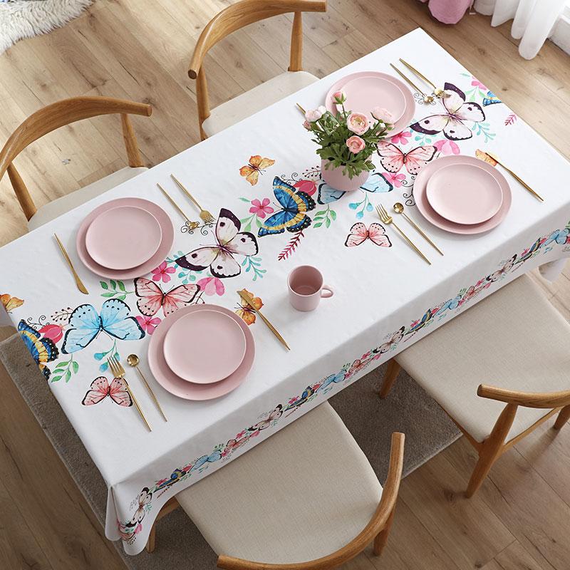 桌旗桌布一体防水防油免洗餐桌布长方形台布茶几布艺桌垫PVC北欧-给呗网