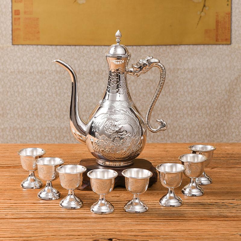 乔师傅手工 家用纯银酒器银酒具999银酒杯酒壶送礼酒具套装1壶8杯