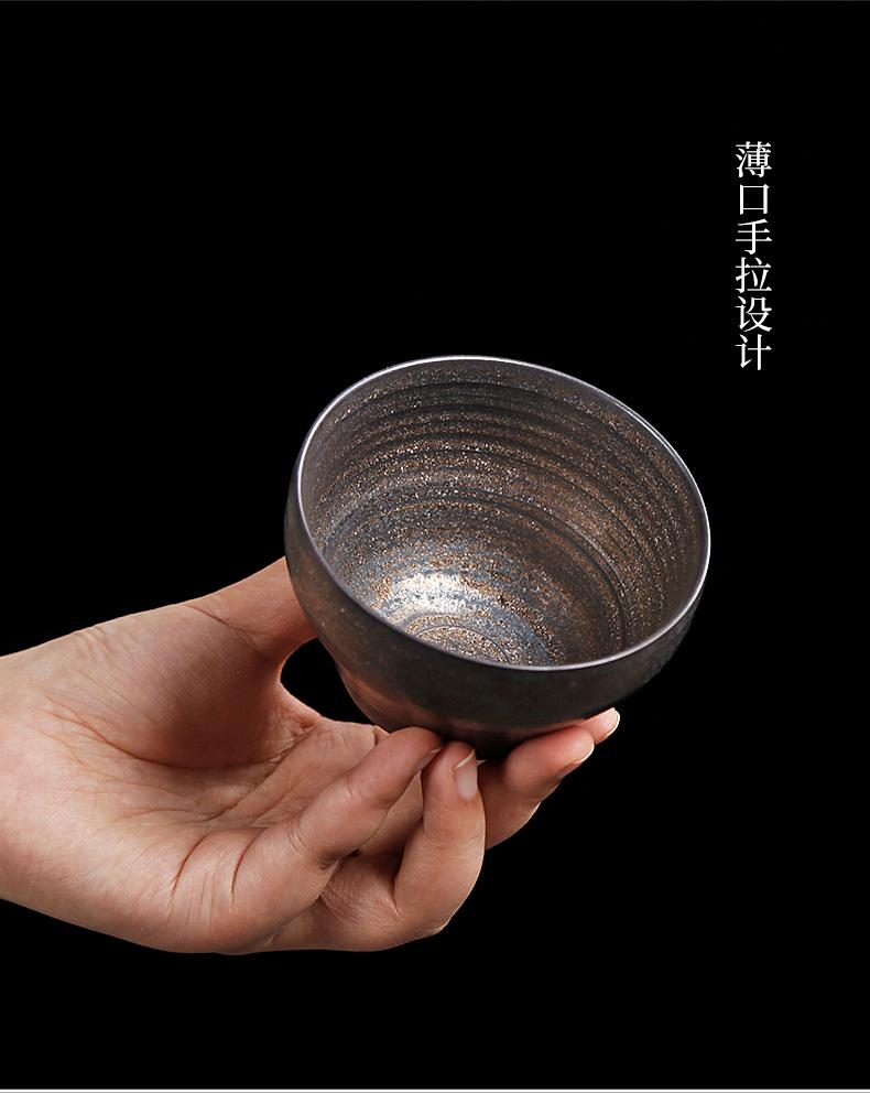 Kunfu tea cup single large coarse pottery master cup gold fullness a single tea tea set wide expressions using, tea cups