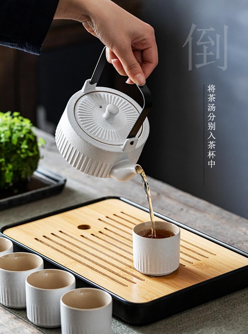 Japanese coarse pottery home sitting room tea set suit small set of restoring ancient ways with zen ground kunfu tea girder pot of tea
