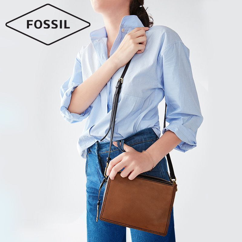 Fossil Cowhide Handbags Multi Compartment Lightweight Shoulder Messenger Bag Simple Retro Zb726