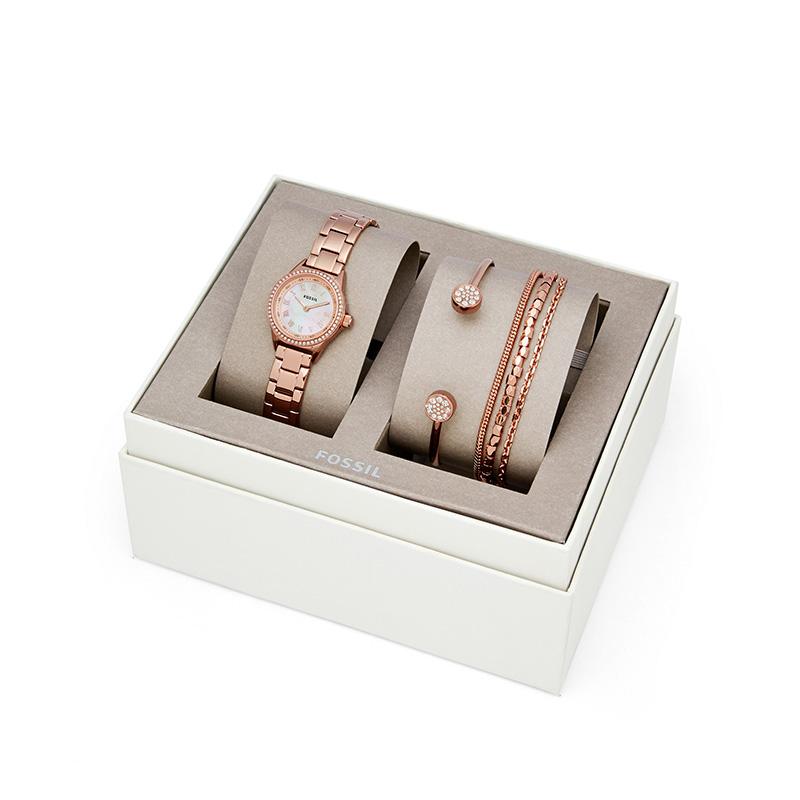 情人节礼物 杨紫同款 化石 Fossil BLYTHE系列 女玫瑰金手表+手链+手环礼盒