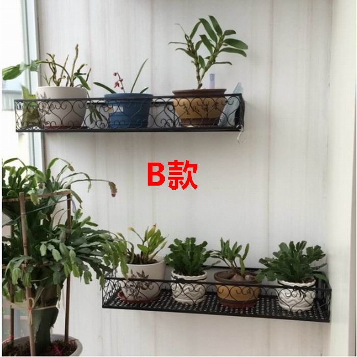 European Style Wall Hanging Balcony Flower Stand Living Room Wrought Iron Plant Rack Mounted