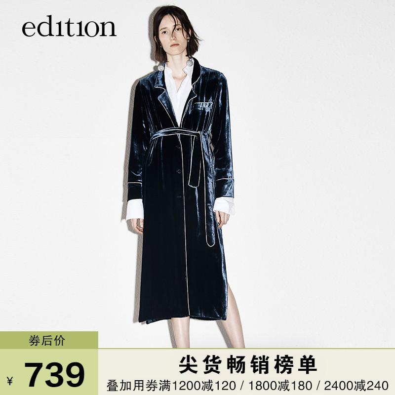 edition丝绒外套秋长款复古睡衣风袍式系带EA173COT102 moco