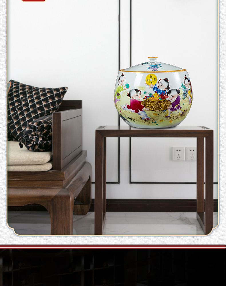 Jingdezhen ceramics a thriving business with cover storage tank tea POTS sealed large moistureproof mildew household