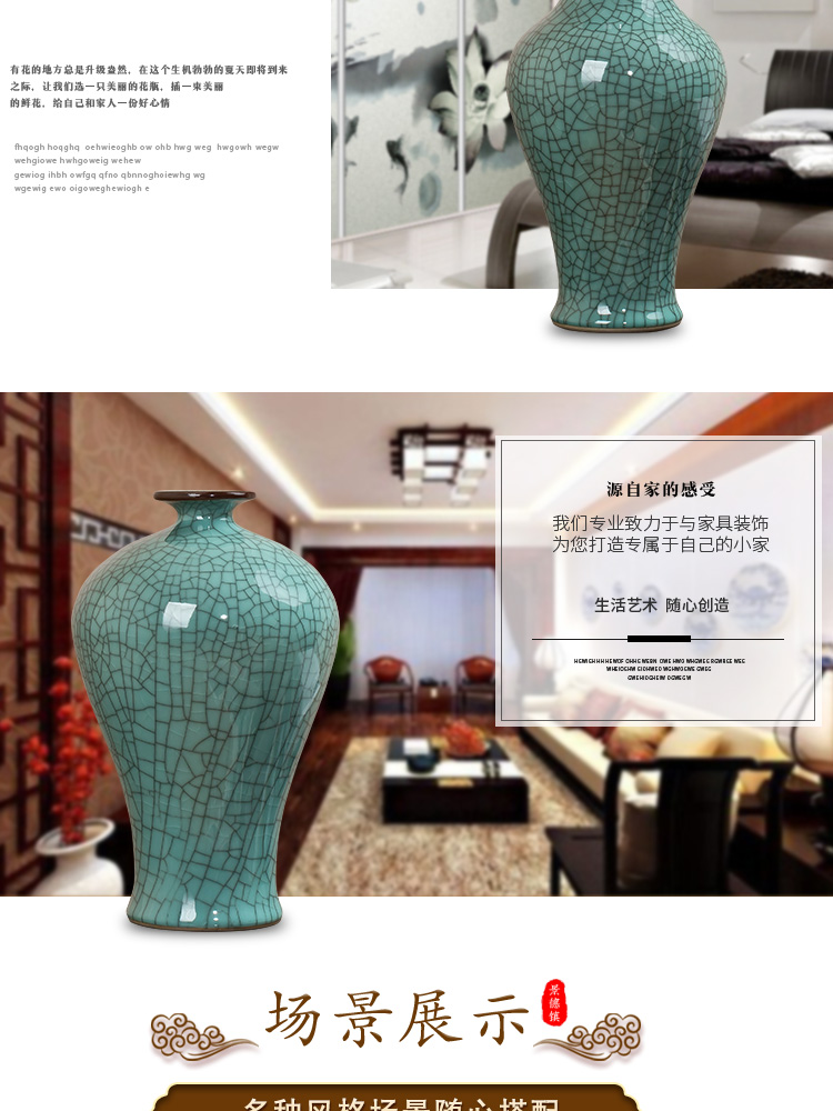 Jingdezhen ceramic crack glaze vase archaize up furnishing articles rich ancient frame flower arranging Chinese style restoring ancient ways household ornaments
