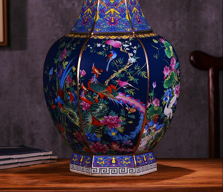 Jingdezhen ceramics imitation qianlong colored enamel vase furnishing articles example room of Chinese style household adornment TV ark