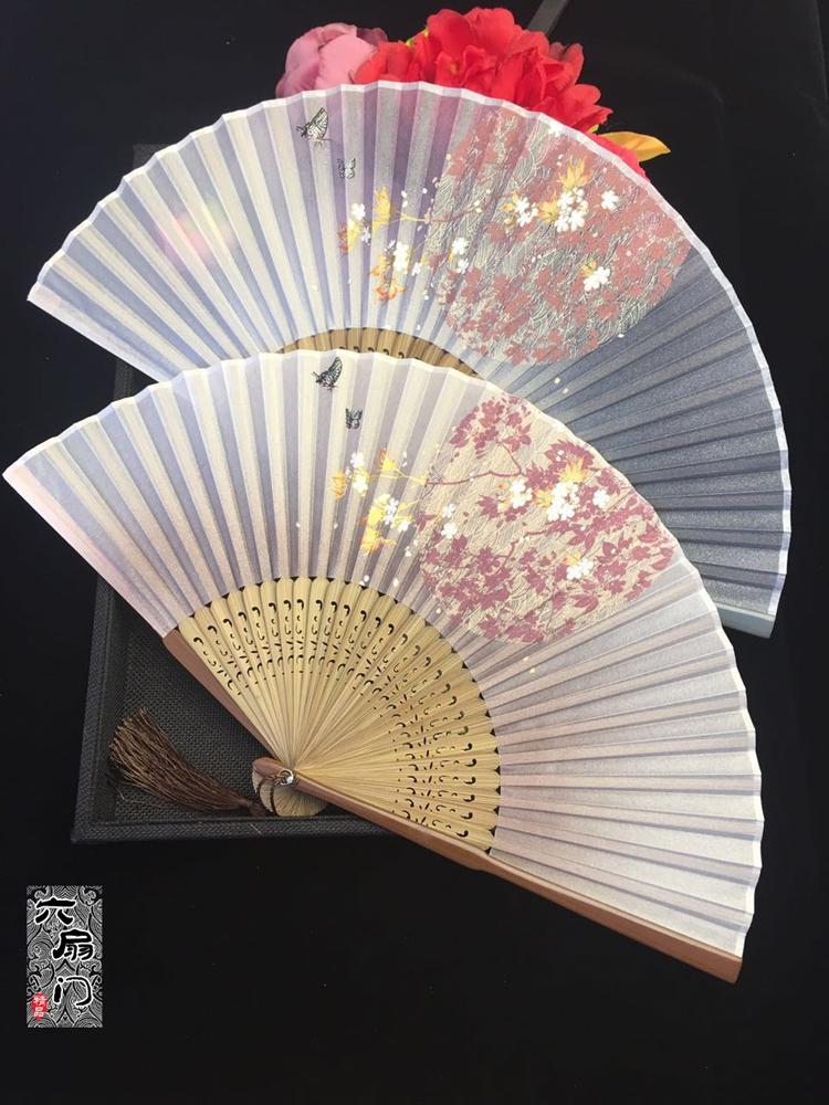 6 дюймовый краски край шелк древность веер цветение вишни бамбук сложить вентилятор классическая китайский ветер танец веер китайский женская одежда месяц круглый