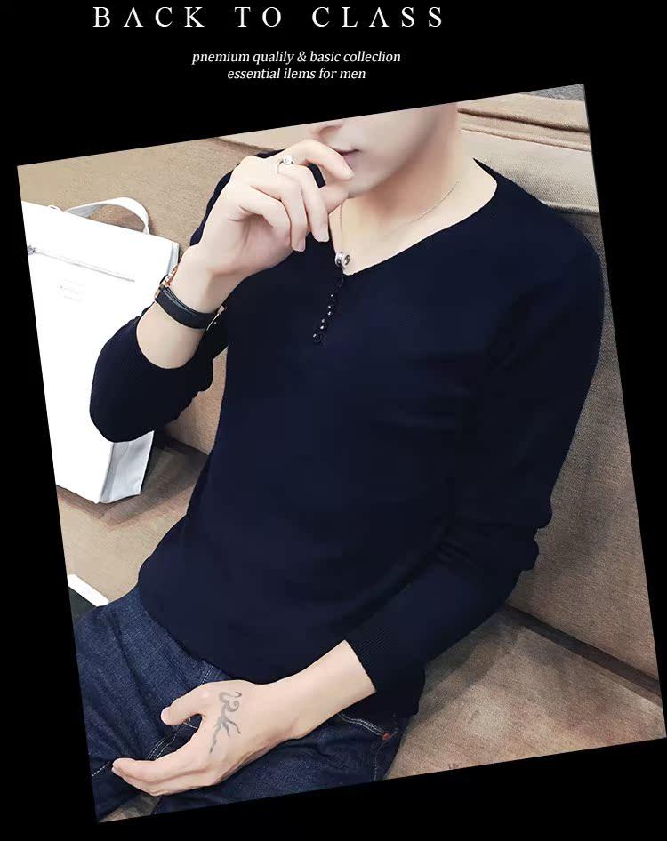 秋季时尚型男款 韩鸡心领 打底圆领套头针织衫  休闲男装  F18P50