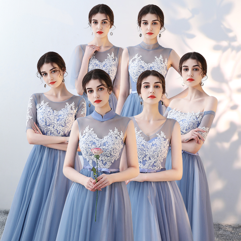 伴娘团长裙服2019夏季新款中长款中式蓝色姐妹毕业v伴娘晚礼服裙女