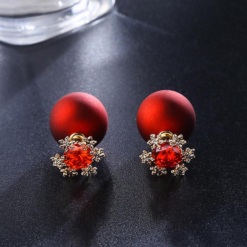 瑾年新款红色雪花耳环女气质日韩时尚个性本命年耳钉短款珍珠耳饰