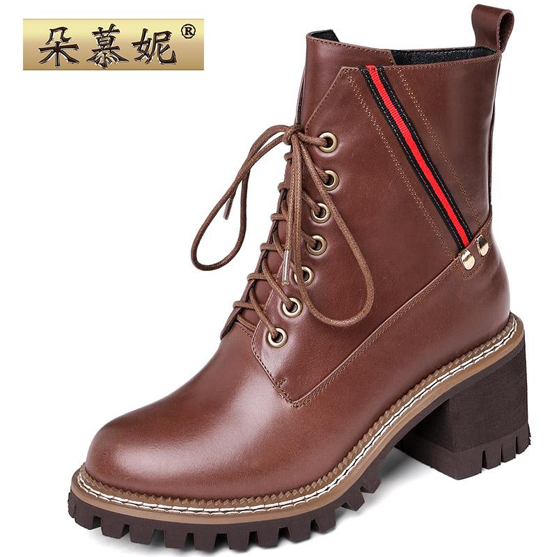2019秋冬高跟女靴英伦风加绒马丁靴女短筒复古短靴粗跟真皮机车靴