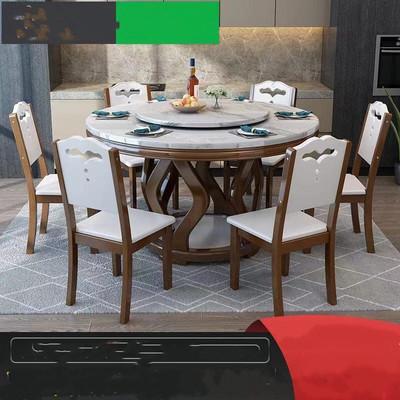 卡洛森餐厅大理石餐桌圆形餐桌实木餐桌椅组合家用吃饭桌子带转盘