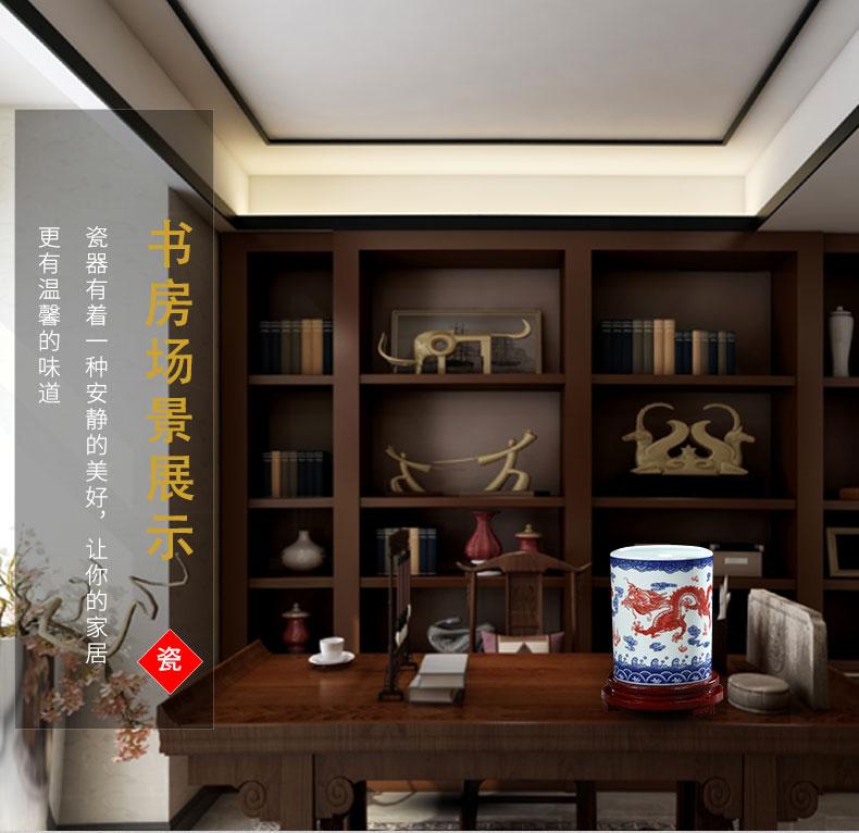 Jingdezhen custom LOGO ceramic pen container barrels students study of four treasures of the study place, office desktop receive a barrel
