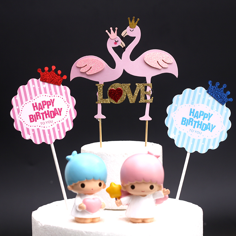 Cake Decoration Crown Swan Flamingo LOVE Flag Birthday Card Dessert Table Dress