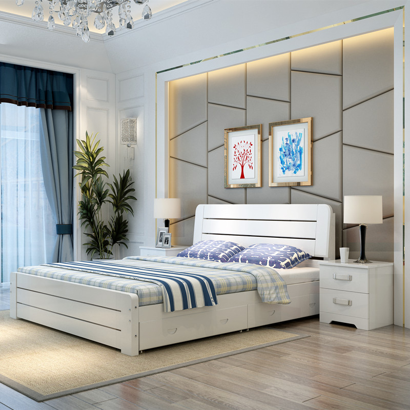 Simple Modern Solid Wood Bed White Pine 1.8 M Double Bed 1.5m Single Bed  1.2 Children European Bed Master Bedroom