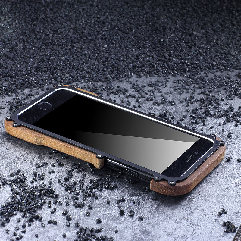 brand new eae70 eb294 R-Just IRONWOOD Light Slim Timber Aluminum Metal Wood Bumper Case ...