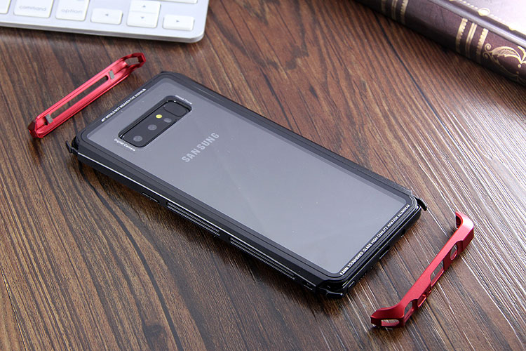 Luphie Nunchaku Airframe Metal Frame Air Barrier Tempered Glass Back Case Cover for Samsung Galaxy Note 8
