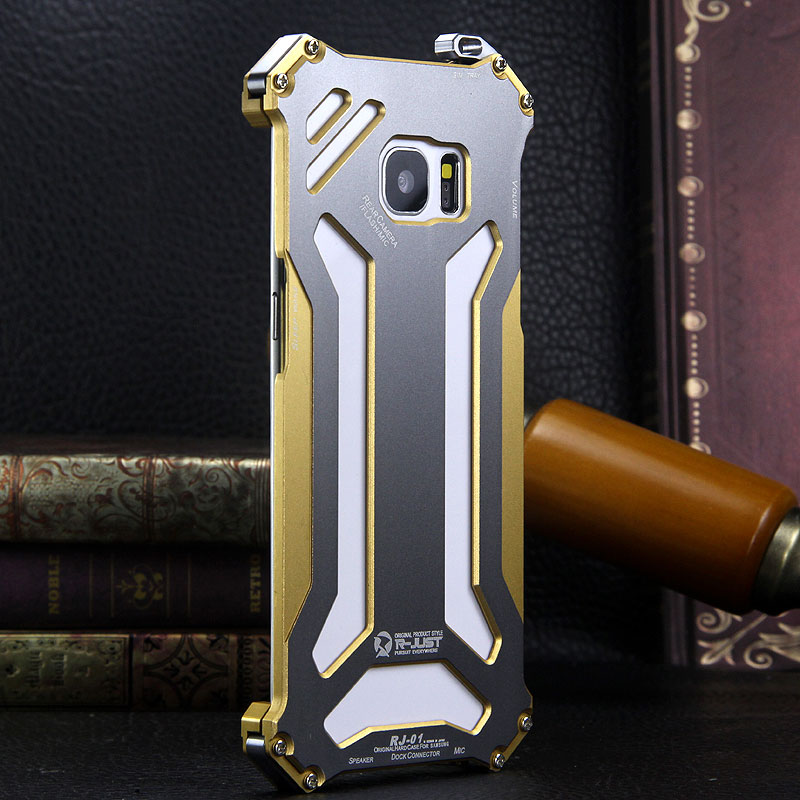 R-Just Gundam Aerospace Aluminum Contrast Color Shockproof Metal Shell Outdoor Protection Case for Samsung Galaxy S7 Edge
