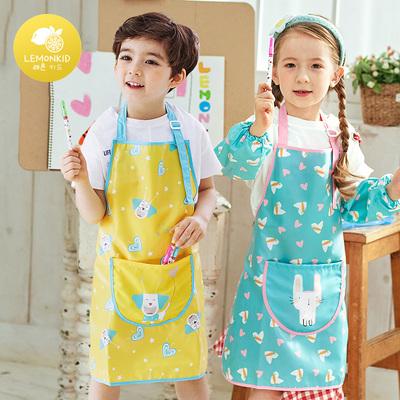 五宝宝儿童吃饭衣环保罩衣防水围兜儿童画画衣反穿衣夏季男童女童