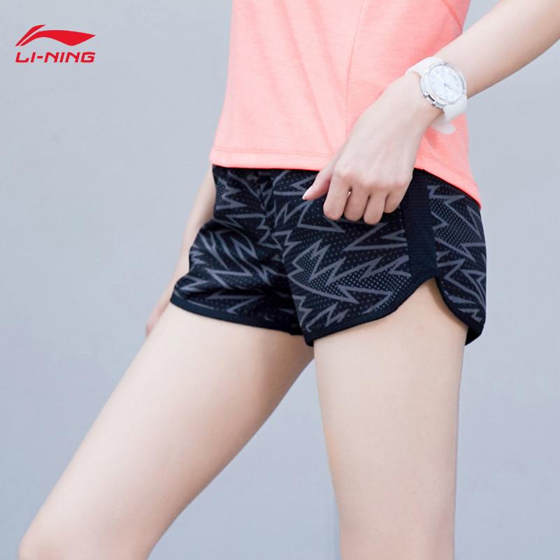 李宁健身短裤女夏季速干吸湿训练系列跑步运动宽松透气排汗五分裤