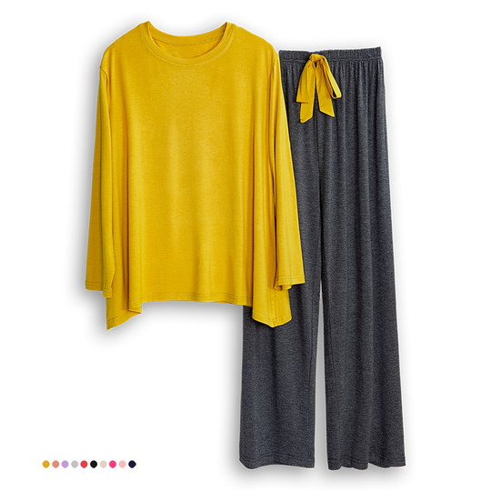 Spring, Xia Mordale, women's pajamas, two-piece long-sleeved trousers yoga large size thin loose casual month home service