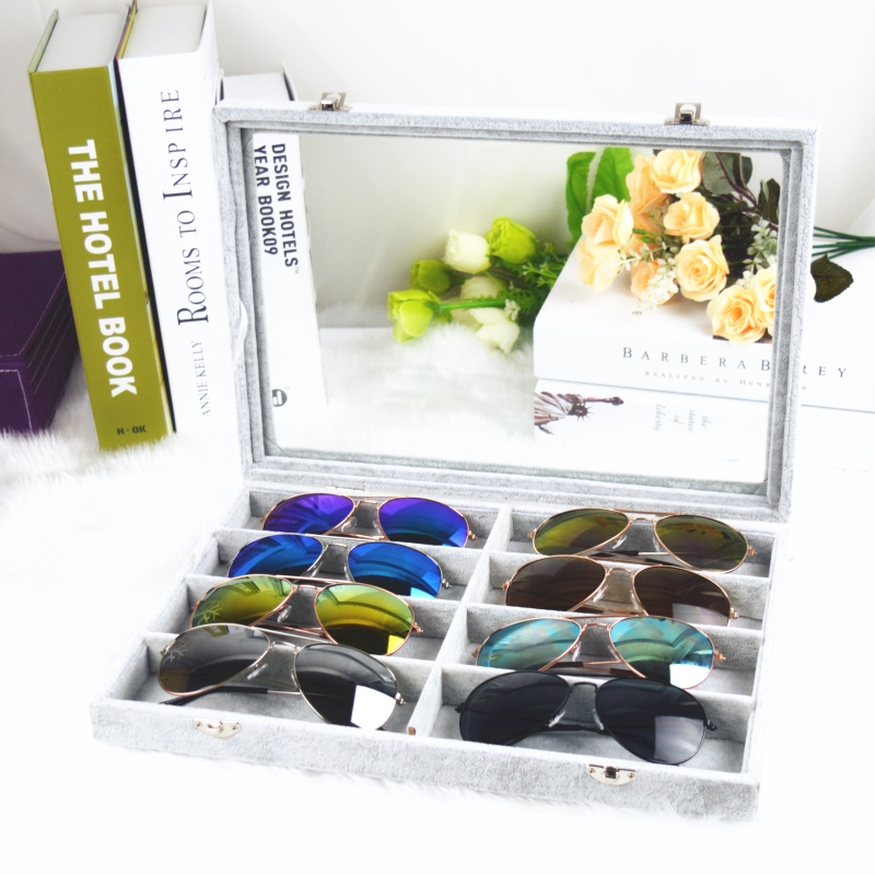 ccd20655b4b Ice flower cashmere covered glass glasses box sunglasses storage box glasses  storage box glasses collection box glasses display