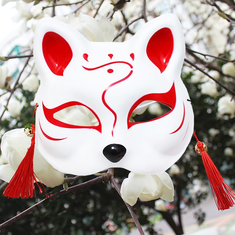 彩绘狐狸半全脸面具日式和风妖猫二次元动漫男女自拍舞会直播道具