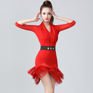Women's latin dance dresses Summer new tassel Dress Adult Women's Latin Dance Dance Dress training performance Dress Dance suit middle sleeve