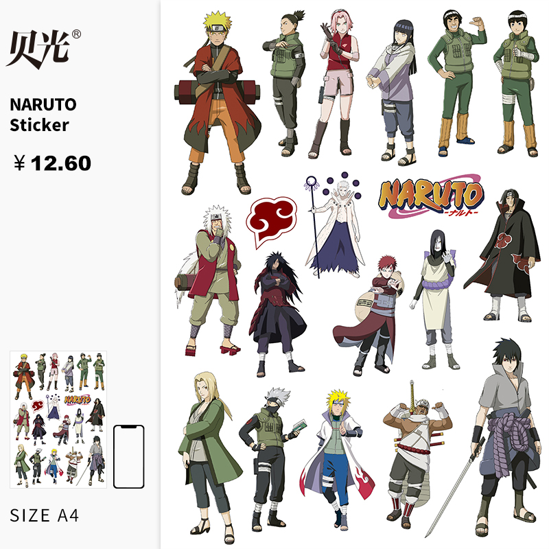 Naruto sasuke suitcase stickers naruto stickers waterproof laptop skateboard travel case sticker bay light 107