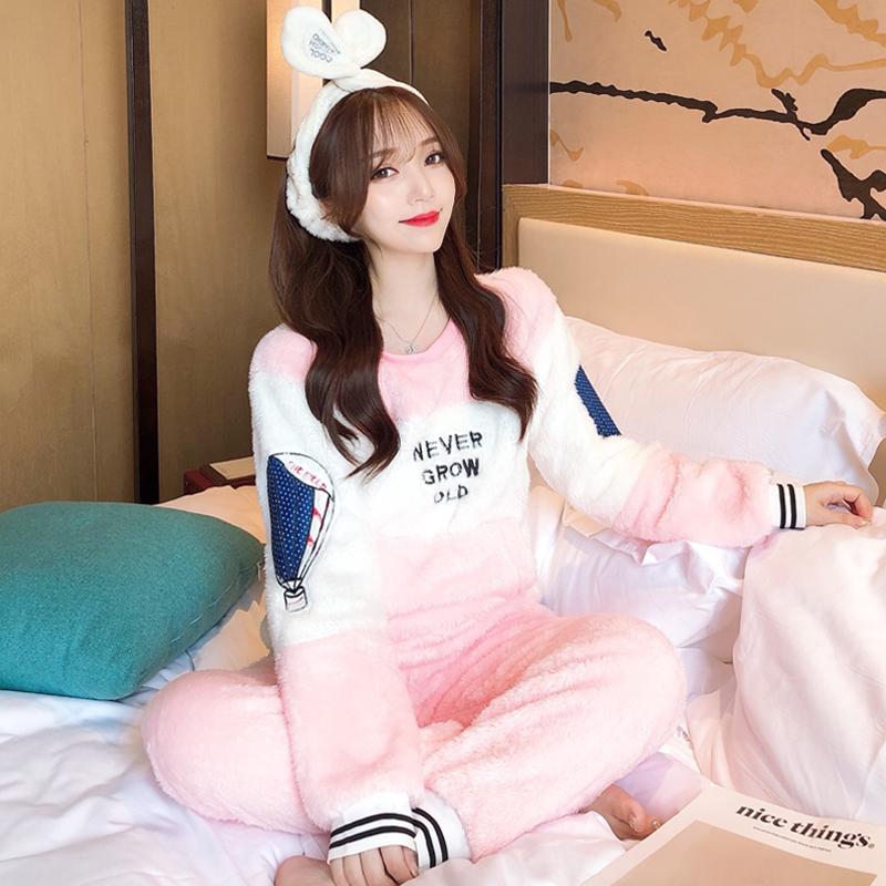 Hàn Quốc mùa thu và mùa đông san hô đồ ngủ sang trọng phụ nữ dày dễ thương ngọt ngào ấm áp dịch vụ nhà flannel cộng với bộ đồ nhung - Cặp đôi