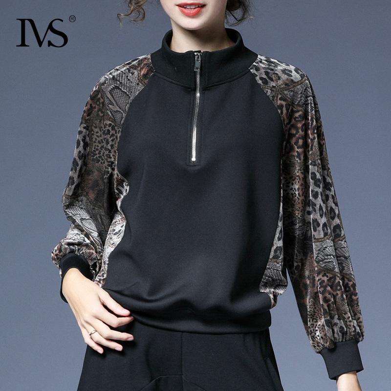 IVS2020上衣新款宽松豹纹袖女装外套服棒球春装大码百搭女蝙蝠春