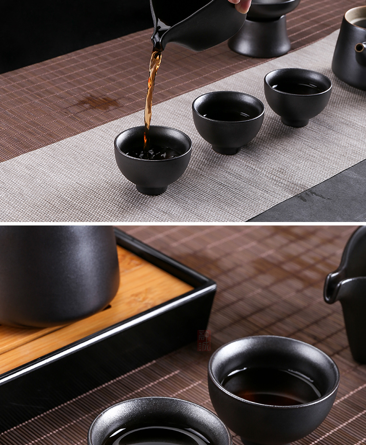 GuTao coarse pottery kung fu tea set of girder of pottery and porcelain pot cup household contracted style restoring ancient ways to suit the teapot