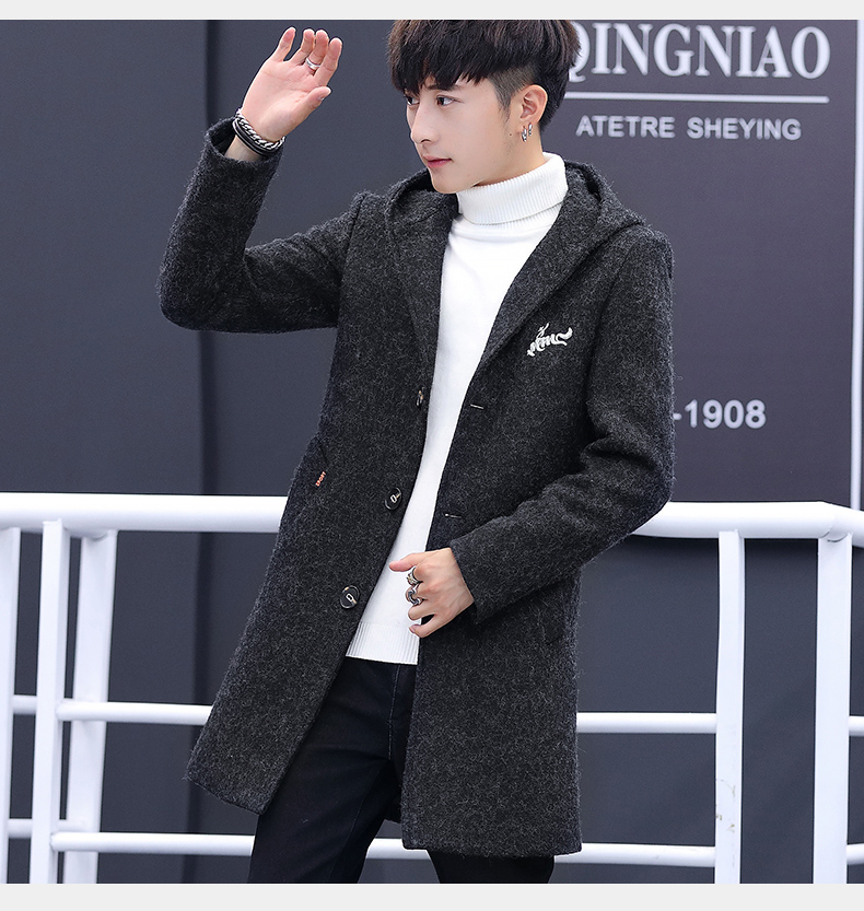 Winter windcoat men's middle and long Korean version of the trend with a cap plus plush thick wool coat men's coat 56 Online shopping Bangladesh