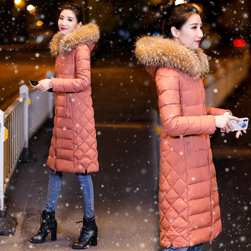 2018新款棉衣女中长款反季过膝羽绒棉服绣花修身冬季女外套潮棉袄