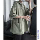 Summer trend in Sora Shot Feng Song Hooded short-sleeved sweater thin coat loose trend with cap five-point sleeve T-shirt