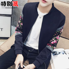Spring and Autumn Men's Collar Jacket Trends Splicing Clothes Slim Baseball Jacket Print Casual Men's Small Shirt