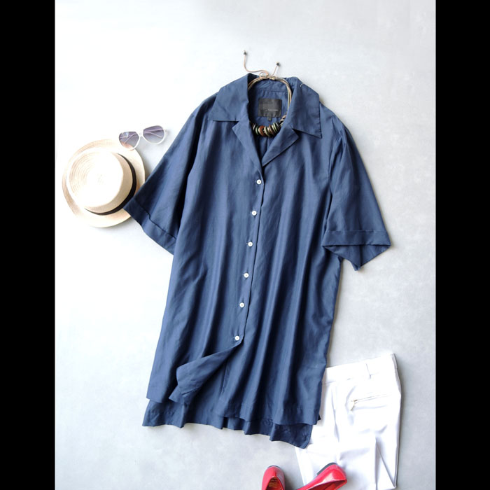 外贸大码女装人造棉宽松v领短袖衬衫连衣裙女夏季2016新款中长款