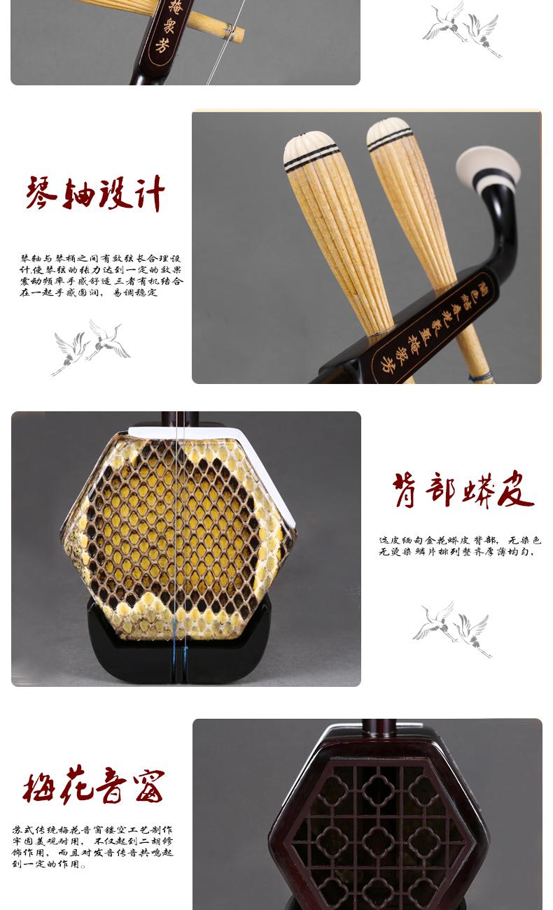 二胡乐器铜轴机械轴二胡苏州二胡初学入门演奏成人儿童通用胡琴详细照片