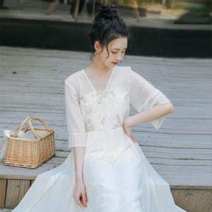 超仙的漢服改良連衣裙甜美雪紡裙子