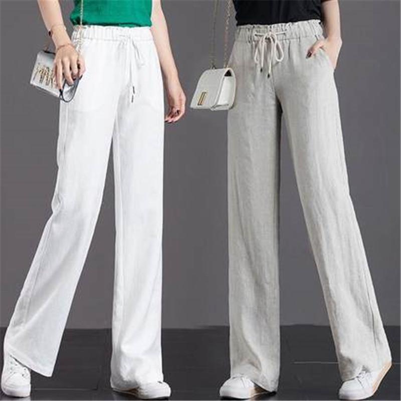 纯棉阔腿裤女2020春夏季新款直筒裤高腰宽松显瘦坠感长裤休闲裤子