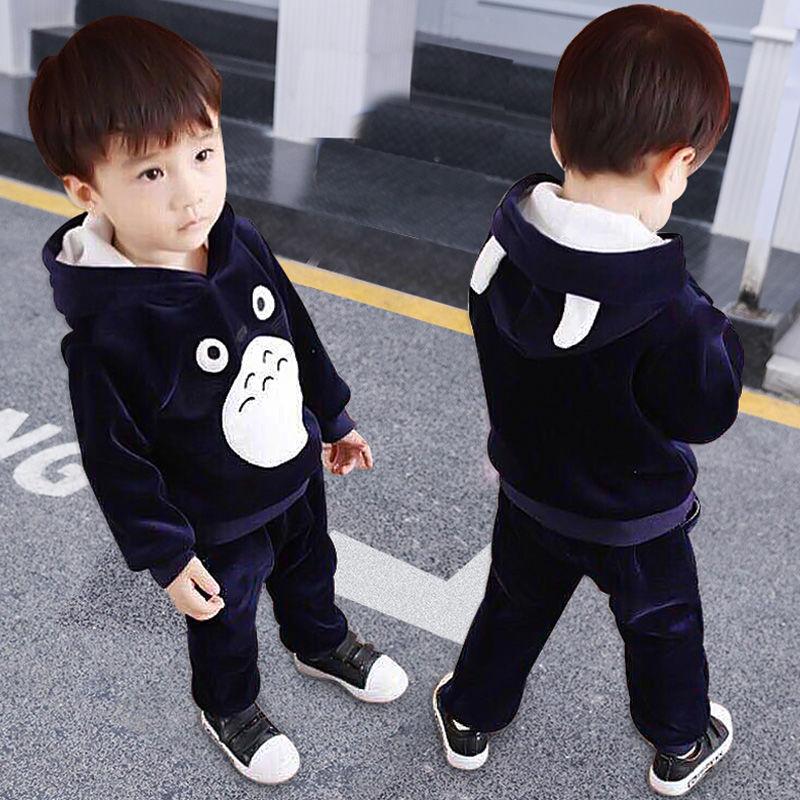 2020新款女童双面绒套装春秋儿童加绒加厚卫衣宝宝两件套童装男童