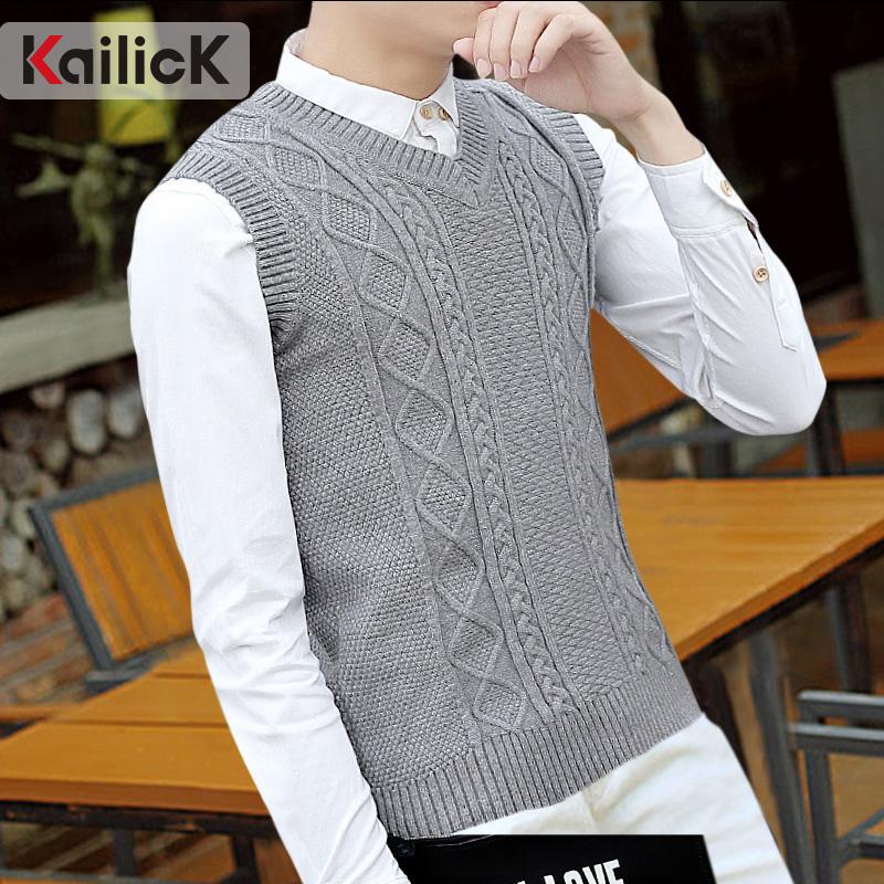 Mùa xuân và mùa thu len vest nam ấm vest không tay thanh niên đan vest nam áo len v-cổ XL vest
