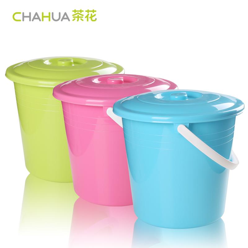 塑料塑料水桶钓鱼水桶大号水桶塑料桶带盖茶花加厚装水桶加厚桶