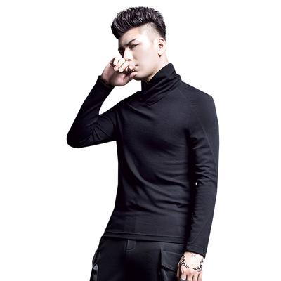 Của nam giới nửa cao cổ áo đáy áo sơ mi màu đen dài tay áo len nam áo len Hàn Quốc phiên bản của xu hướng tự trồng căng áo len áo len