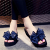 Summer sandals and slippers women wear high-heeled word bow bow slip-proof slope with thick bottom seaside holiday beach shoes