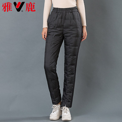 Yalu middle-aged and elderly mothers down pants women wear high-waist stretch-padded warm inner liner thin duck down pants