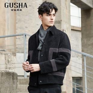 古鲨2020年冬季新款黑灰色拼接颗粒绒夹克 时尚潮流外套16647869A