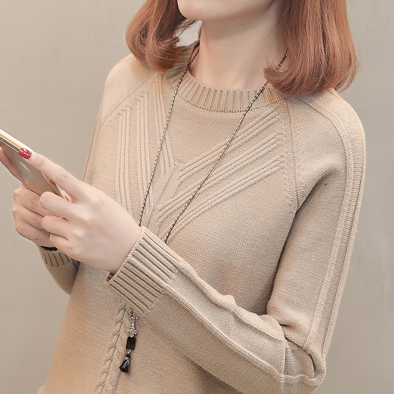 Lady Low Collar sweater Long sleeve 2019 new short spring and autumn round collar  loose hundred 1d2cf482b