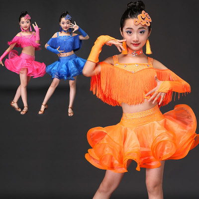 Tassel children Latin dance costumes women practicing service Latin dance dress performance dress dance performance matc